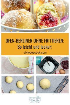Das weltbeste Berliner Pfannkuchen, Kreppel oder Krapfen Rezept, egal. wie man sie nennt: Bei mir gibt's die fettarme Variante ohne Frittieren. Einfach zu machen, mit besonderem Vanille-Himbeer-Aroma und so lecker. Mit genauer Anleitung für Hefeteig. Nachbacken und genießen, ob zum Kaffee, Party, Karneval / Fastnacht oder zu jeder anderen Jahreszeit! #kreppel #ofenberliner #berlinerpfannkuchen #krapfen #backrezept #berliner #fastnacht #karneval #vanille #himbeer #raspberry #hefeteig Cupcakes, Foodblogger, Lifestyle Blog, Hamburger, Sweets, Bread, Recipes, Deep Frying, Raspberries