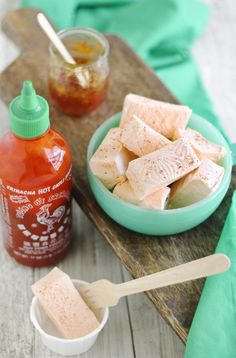 Sriracha-Orange Marmalade Marshmallows ~ I'm too chicken to make marshmallows....but just mixed Mum's homemade marmalade with Sriracha....wow!  Amazingly easy dipping sauce for egg rolls, crab wontons..or a spoon Ü  You adjust the ingredients according to your heat/sweet preference.