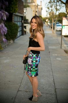 Bright fun skirt black top