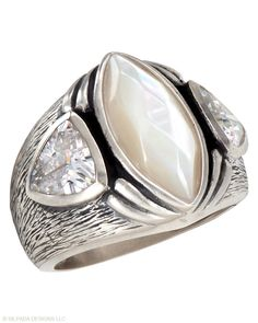Stargazer Ring - Cubic Zirconia, Mother-of-Pearl, Sterling Silver.