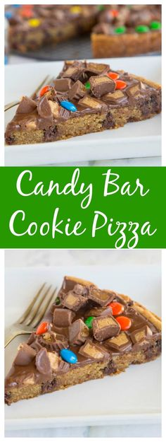 Candy Bar Cookie Pizza – a chocolate chip cookie pizza topped with melted chocolate and lots of your favorite candy! (Best Brownies With Chocolate Chips) Chocolate Chip Cookie Pizza, Chocolate Pizza, Melted Chocolate, Chocolate Recipes, Chocolate Chips, Chocolate Hazelnut, White Chocolate, Brownie Desserts, Easy Desserts