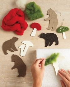 How to make needle-felted woodland ornaments from Martha Stewart. Mushrooms, bears, and deers galore Diy Christmas Ornaments, Felt Ornaments, Handmade Christmas, Holiday Crafts, Christmas Tree, Needle Felted Ornaments, Felt Sheets, Needle Felting Tutorials, Woodland Christmas
