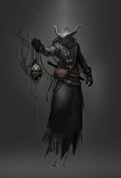 This is a digitally drawn concept art of a Hive Wizard from Destiny.