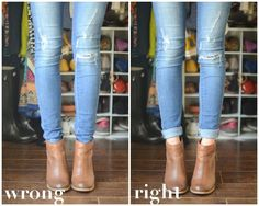 Learn to cuff your jeans properly to make ankle boots the most flattering on your leg!