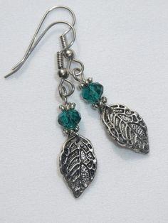 Lovely Leaves  Leaf Earrings  Emerald Green OR Neutral by Thielen, $7.95