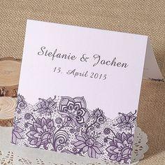 Dunkel Lila Spitze Einladungskarte Hochzeit OPL032