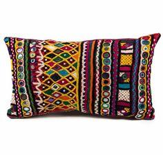 Vintage Brahui Pillow.  Indian textile.  Reclaimed tribal skirt.