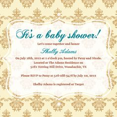 Customizable baby shower invitation template - Vintage Wallpaper Design from ModernGreetings.com