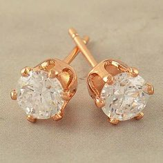 9k Rose Gold Filled 5mm CZ Hypo-Allergenic Stud Pierced Earrings #Stud