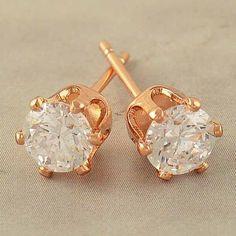 9k Rose Gold Filled 5mm CZ Hypo-Allergenic Stud Pierced Earrings #Stud