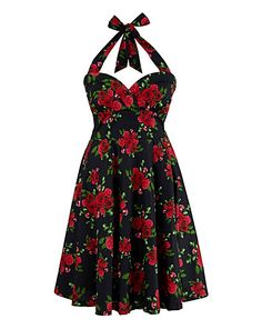 Hell Bunny Floral Halterneck Dress | Simply Be
