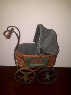 Antique Vintage Baby Doll Carriage Pram Buggy by maggiecastillo, $75.48