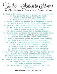 Printable Christmas Service Advent Calendar on www.thecraftingchicks.com