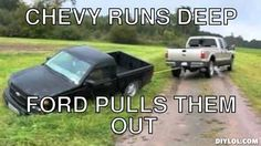 Fords always beat Chevys!