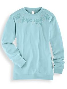 Tonal Embroidered Sweatshirt - <p> 	The classic sweatshirt gets a beauty treatment with a garland of embroidered leaves accented with rhinestones. Crew neckline; ribbed collar, cuf