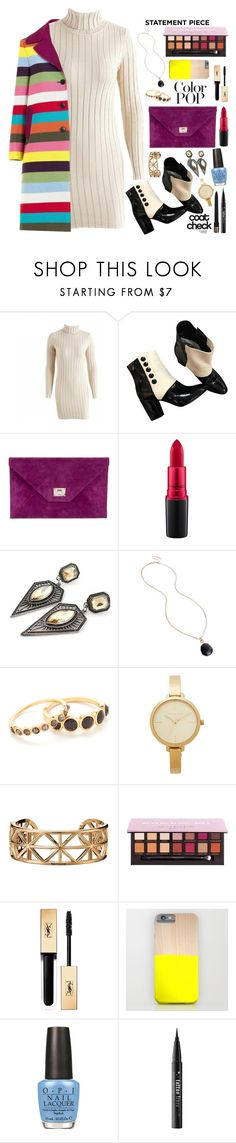 """""""Statement Coat: Color Pop!"""" by allyssister ❤ liked on Polyvore featuring Chanel, Jimmy Choo, MAC Cosmetics, Kenneth Cole, Gorjana, Michael Kors, Avon, Yves Saint Laurent, OPI and Kat Von D"""