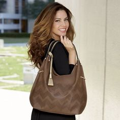 Olivia Bag from Monroe and Main. Crafted in a narrowing shape with rows of perforated zigzags, this is a bag of eye-catching artistry. Hourglass Shape, Weekend Fun, Last Minute Gifts, Tote Handbags, New Look, Hair Color, Plus Size, Eye, Purses