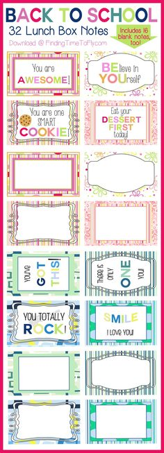 Ideas Quotes: Lunch Box Notes for Back To School - Finding Time...