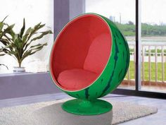 Ball Chair by Eero Aarnio, Pink and Green Watermelon Edit Cute Furniture, Furniture Decor, Furniture Design, Furniture Removal, Farmhouse Furniture, Furniture Arrangement, Furniture Projects, Furniture Makeover, Bedroom Furniture
