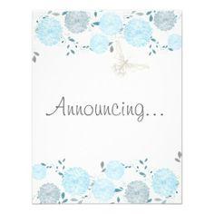 Butterflies and Blue Chrysanthemums Engagement  #butterflies #wedding #Spring #WeddingCollection #WeddingInvitations #Invitations #Floral