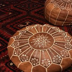 set of two leather pouf,moroccan handcrafted leather pouf, ottoman leather pouf Leather Pouf Ottoman, Moroccan Leather Pouf, Moroccan Pouf, Moroccan Style, Crochet Pouf, Knitted Pouf, Small Apartment Decorating, Painting Leather, Hand Stitching