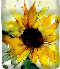 Watercolor Sunflower Greeting Card for Sale by Annemiek Groenhout - Watercolor . - Watercolor Sunflower Greeting Card for Sale by Annemiek Groenhout – Watercolor Greeting Card featuring the painting Watercolor Sunflower by Annemiek Groenhout – Watercolor Cards, Watercolour Painting, Watercolor Flowers, Watercolors, Watercolor Sunflower Tattoo, Watercolor Water, Body Painting, Alcohol Ink Painting, Alcohol Ink Art