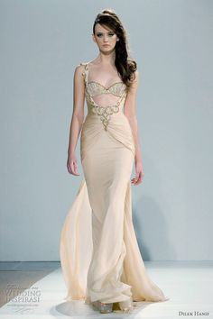 +2014 HAUTE COUTURE BRIDAL GOWNS   Ethereal Grecian drape gown with bared sides at the empire waist ...