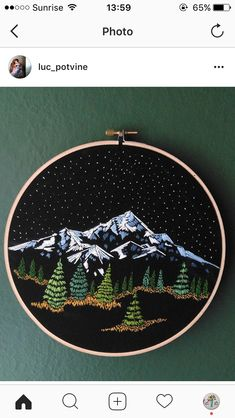 Snowy mountain starry sky pine trees embroidery