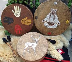 "SPIRIT BEAR - Native American style hoop drum with signature totem & symbology artwork - 16"" diameter"