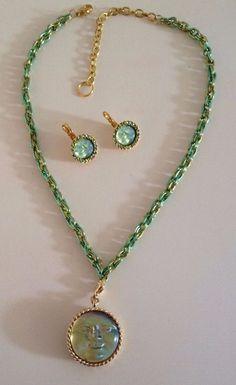 Kirks Folly Pale Lime Green Irish Seaview Moon necklace earrings set #KirksFolly #Pendant