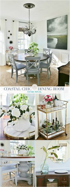 LOVE it! A Coastal Chic Dining Room Makeover - Sand and Sisal