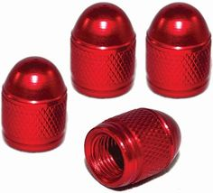 """Amazon.com : (4 Count) Cool and Custom """"Diamond Etching Round Top with Easy Grip Texture"""" Tire Wheel Rim Air Valve Stem Dust Cap Seal Made of Genuine Anodized Aluminum Metal {Crimson Chrysler Red Color - Hard Metal Internal Threads for Easy Application - Rust Proof - Fits For Most Cars, Trucks, SUV, RV, ATV, UTV, Motorcycle, Bicycles} : Sports & Outdoors"""