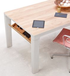 You won't just get a handy workspace to operate on with the Shift Tech Table. Instead, what you'll receive is a perfect blend of a living and office space. Table Desk, Table And Chairs, Office Gadgets, Stow Away, Large Table, Work Desk, Higher Design, Design Furniture, Office Furniture