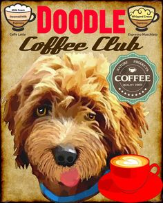 Labradoodle Goldendoodle Doodle Dog Coffee Club by SwiftArtStudio, $23.00