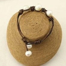 Freshwater Pearl Bracelet Handmade 7.9 Inches Leather Bracelet Genuine Pears with Baroque and Potato Pearl Beaded for Women Jewelry,ETS-B137