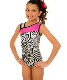 Look at this TumbleWear Mani Hot Pink Zebra Leotard & Hair Tie - Girls on #zulily today!