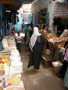 Market place in Essaouira, MOROCCO.  I remember doing my daily shopping here when I lived here.