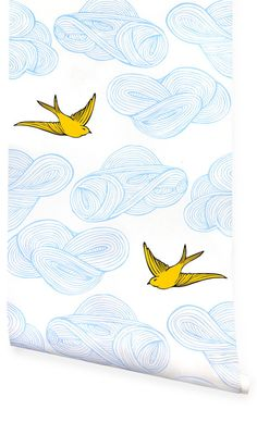 'Daydream' by Julia Rothman wallpaper in different colour schems
