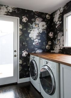 Floral wallpaper in laundry room