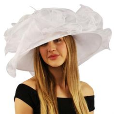 Kentucky Derby Floppy Ruffle Layered Jewel Feather Organza Dress Bride Hat Race Day Hats, Hat Tip, Tea Party Hats, Organza Dress, Wide-brim Hat, Kentucky Derby, Maid Of Honor, Jewel, Feather
