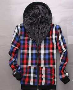 Plaid Inside Cap Design Black Casual Hoodie