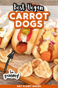This is the ULTIMATE vegan hot dog from EatPlant-Based! Carrot Dogs are revolutionary, and amazingly delicious. It's an inexpensive, family favorite, vegan lunch and dinner option that you have to try. The marinade makes this easy recipe come alive! Cooked Carrots, Vegan Grilling, Grilling Recipes, Dog Recipes, Vegan Recipes, Portobello Mushroom Burger, Carrot Dogs, Veggie Kabobs, Cooking