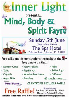 Mind Body & Spirit Fayre Sunday 5th June Spa Hotel Saltburn TS12 1HH