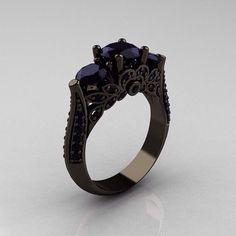 #Ring vintage #Ring black #big ...PUSH and choose