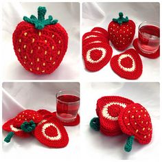 This pattern is available for GBP Ravelry: Strawberry Coaster Set pattern by Ling RyanFruity Tableware Range - Hooked On Patterns Strawberry Coaster Set crochet patternStrawberry coaster crochet pattern: Crochet a set of 6 sliced strawberry coasters Crochet Strawberry, Crochet Fruit, Crochet Food, Crochet Kitchen, Crochet Crafts, Yarn Crafts, Easy Crochet, Crochet Flowers, Crochet Projects