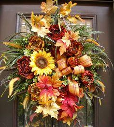 Autumn Wreaths, Falling Leaves, Sunflower and Peony Wreath, Fall Wreaths
