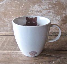 Kitty Cat Mug with Yarn 16 oz