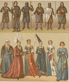 Racinets Medieval costumes - French royalty - 12th thr 14th century - Garments in the Middle Ages