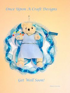 Get well soon Bonnet Bear by OnceUponcraftdesigns on Etsy