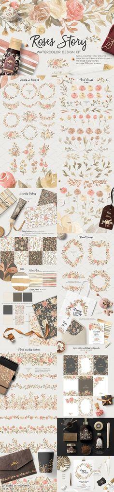 Roses Story. Design Kit Watercolor - 1576614